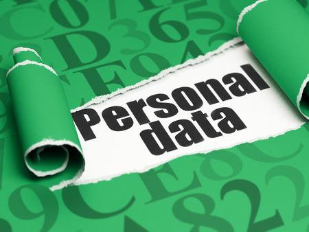 datos personales: Concepto de los datos: texto negro de Datos Personales debajo de la pieza de papel rasgado rizado verde con el c�digo hexadecimal Foto de archivo