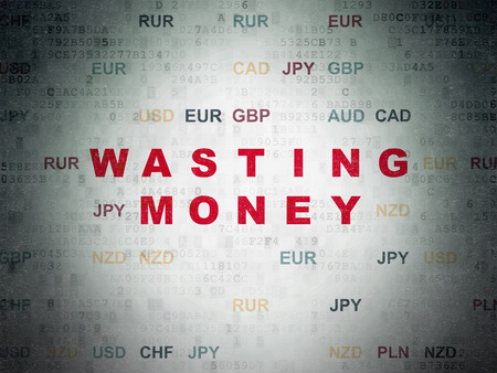 wasting: Banking concept: Painted red text Wasting Money on Digital Paper background with Currency