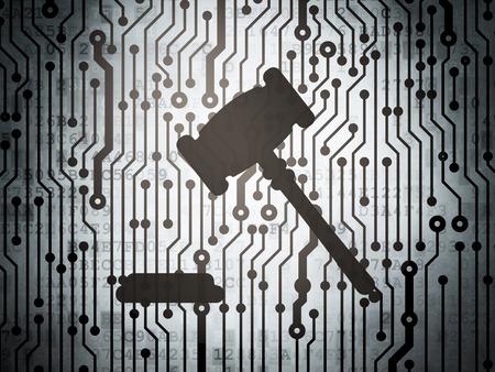 法の概念: 小槌アイコン、3 d のレンダリングと回路基板