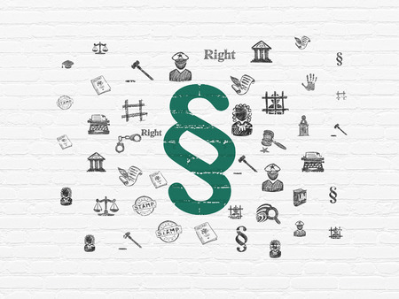 lex: Law concept: Painted green Paragraph icon on White Brick wall background with  Hand Drawn Law Icons Stock Photo