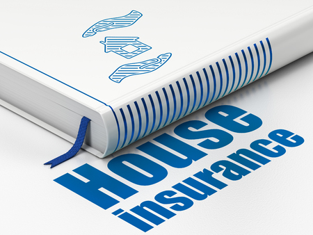 home insurance: Insurance concept: closed book with Blue House And Palm icon and text House Insurance on floor, white background, 3d render Stock Photo
