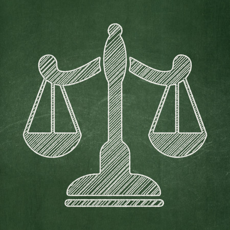criminal act: Law concept: Scales icon on Green chalkboard background