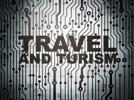turism: Travel concept: circuit board with  word Travel And Turism, 3d render
