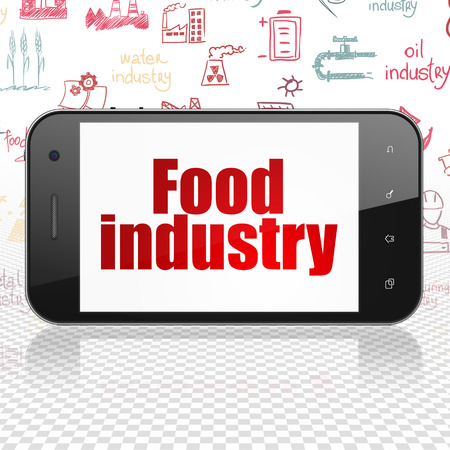 food industry: Industry concept: Smartphone with  red text Food Industry on display,  Hand Drawn Industry Icons background