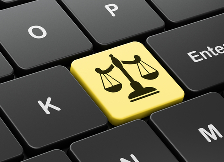 Law concept: computer keyboard with Scales icon on enter button background, 3d render
