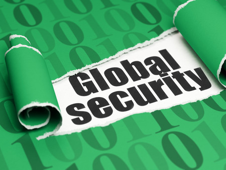 global security: Protection concept: black text Global Security under the curled piece of Green torn paper with  Binary Code Stock Photo