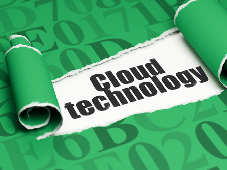 green computing: Cloud computing concept: black text Cloud Technology under the curled piece of Green torn paper with  Hexadecimal Code