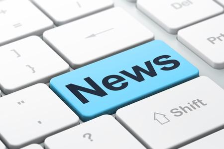 뉴스 개념 : 단어 뉴스와 컴퓨터 키보드, 버튼의 배경을 입력에 선택 집중, 3d 렌더링