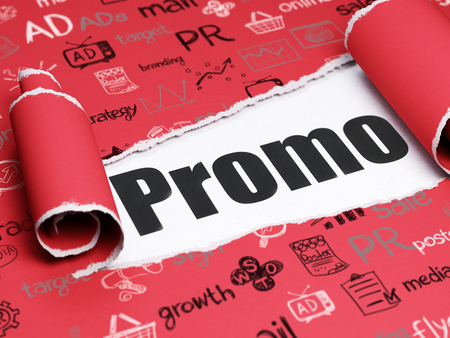 brand damage: Advertising concept: black text Promo under the curled piece of Red torn paper with  Hand Drawn Marketing Icons Stock Photo