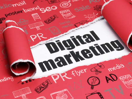 Marketing concept: black text Digital Marketing under the curled piece of Red torn paper with  Hand Drawn Marketing Icons Standard-Bild