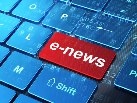urgent announcement: News concept: computer keyboard with word E-news on enter button background, 3d render Stock Photo