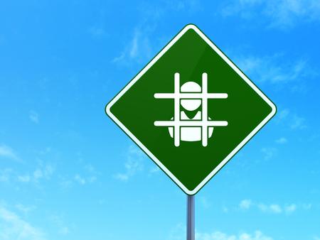 criminal act: Law concept: Criminal on green road (highway) sign, clear blue sky background, 3d render