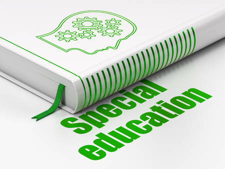 special education: Learning concept: closed book with Green Head With Gears icon and text Special Education on floor, white background, 3d render Stock Photo