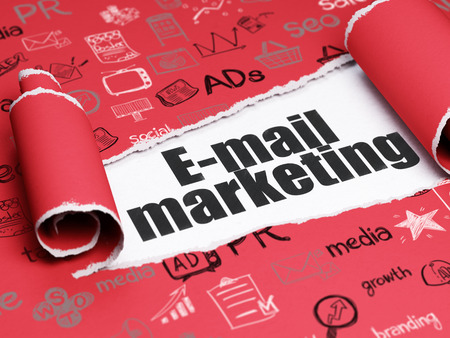 brand damage: Advertising concept: black text E-mail Marketing under the curled piece of Red torn paper with  Hand Drawn Marketing Icons Stock Photo