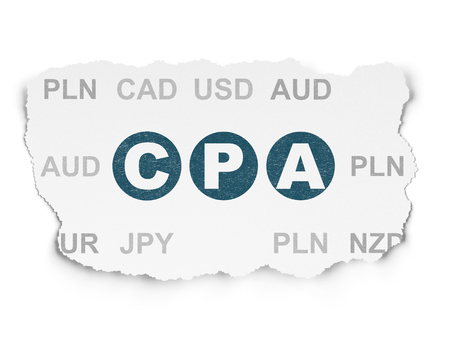 cpa: Business concept: Painted blue text CPA on Torn Paper background with  Currency Stock Photo