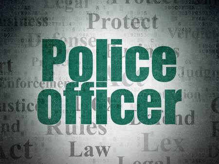 data protection act: Law concept: Painted green text Police Officer on Digital Paper background with   Tag Cloud