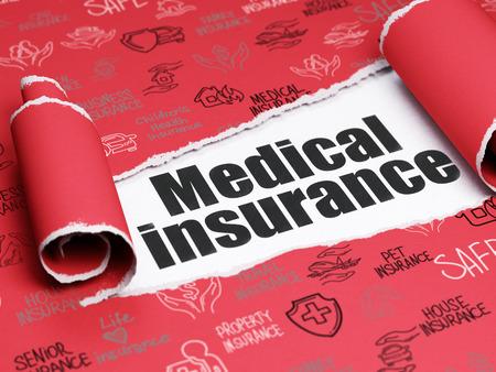 seguro: Concepto del seguro: texto negro de seguro médico bajo la pieza rizado del papel rasgado rojo con iconos del seguro dibujado a mano