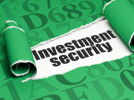 investment security: Safety concept: black text Investment Security under the curled piece of Green torn paper with  Hexadecimal Code