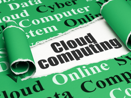 green computing: Cloud networking concept: black text Cloud Computing under the curled piece of Green torn paper with  Tag Cloud Stock Photo