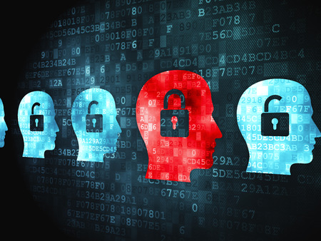 digital background: Finance concept: pixelated Head With Padlock icon on digital background Stock Photo