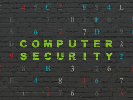 hexadecimal: Safety concept: Painted green text Computer Security on Black Brick wall background with Hexadecimal Code