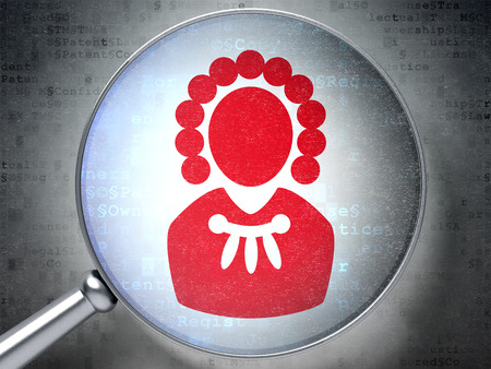 data protection act: Law concept: magnifying optical glass with Judge icon on digital background Stock Photo