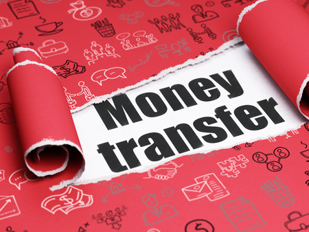 Finance concept: black text Money Transfer under the curled piece of Red torn paper with  Hand Drawn Business Icons Stock Photo