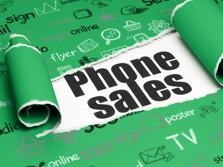 Marketing concept: black text Phone Sales under the curled piece of Green torn paper with  Hand Drawn Marketing Icons Stock Photo