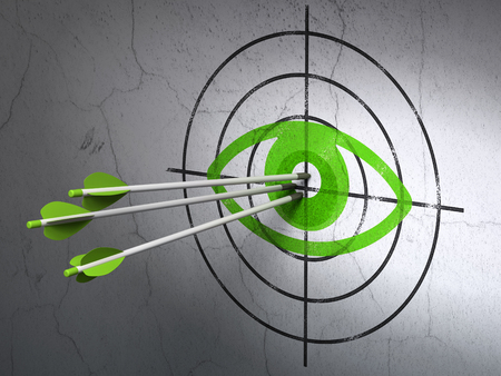 ojo verde: Success safety concept: arrows hitting the center of Green Eye target on wall background Foto de archivo