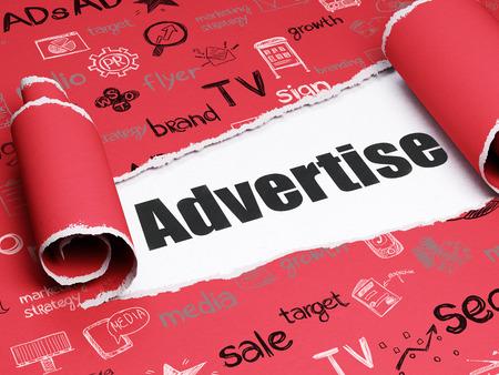 広告の概念: 黒のテキスト手描画マーケティング アイコンと赤引き裂かれた紙のカール部分の下で広告しなさい 写真素材