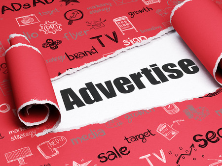 Advertising concept: black text Advertise under the curled piece of Red torn paper with  Hand Drawn Marketing Icons 免版税图像