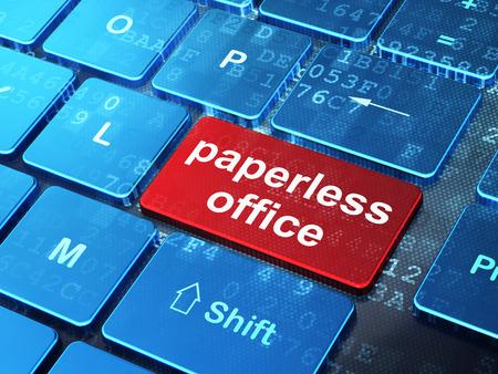 ビジネス コンセプト: ペーパーレス オフィス、入力された単語をコンピューターのキーボード ボタンの背景、3 d のレンダリング