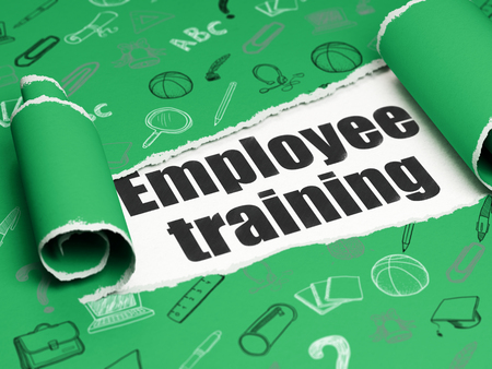 employee: Studying concept: black text Employee Training under the curled piece of Green torn paper with  Hand Drawn Education Icons
