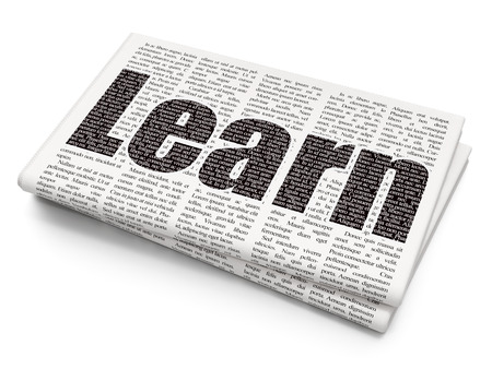 learning: Learning concept: Pixelated black text Learn on Newspaper background