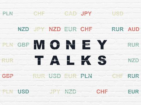 conversaciones: Concepto de las finanzas: Pintado texto Money Talks negras sobre fondo blanco de la pared de ladrillo con la moneda Foto de archivo