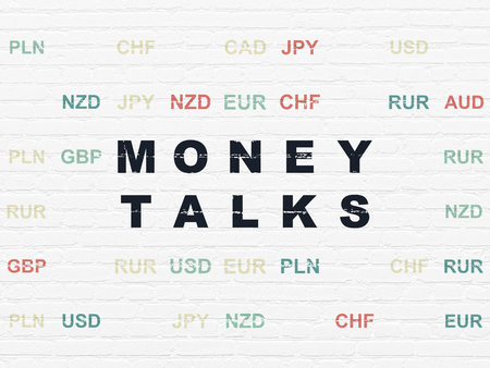 talks: Finance concept: Painted black text Money Talks on White Brick wall background with Currency