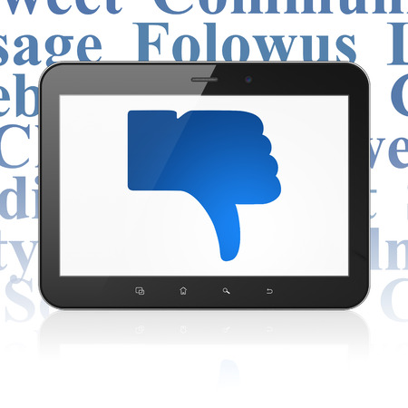 thumb down icon: Social media concept: Tablet Computer with  blue Thumb Down icon on display,  Tag Cloud background