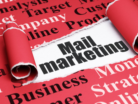 Marketing concept: black text Mail Marketing under the curled piece of Red torn paper with  Tag Cloud
