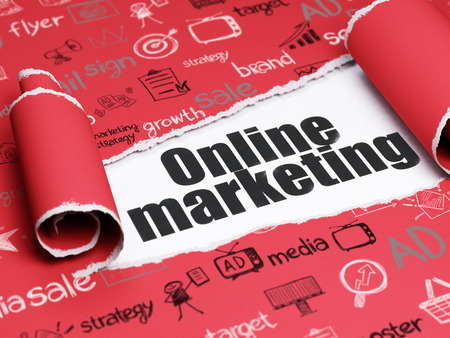 marketing online: Marketing concept: black text Online Marketing under the curled piece of Red torn paper with  Hand Drawn Marketing Icons