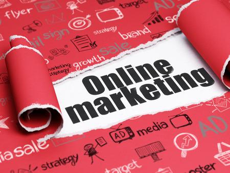 Marketing-Konzept: schwarzer Text Online Marketing unter dem gekräuselten Stück Red zerrissenes Papier mit Hand gezeichnet Marketing Icons Lizenzfreie Bilder