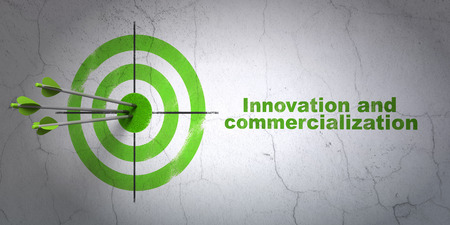 commercialization: Success Science concept: arrows hitting the center of target, Green Innovation And Commercialization on wall background