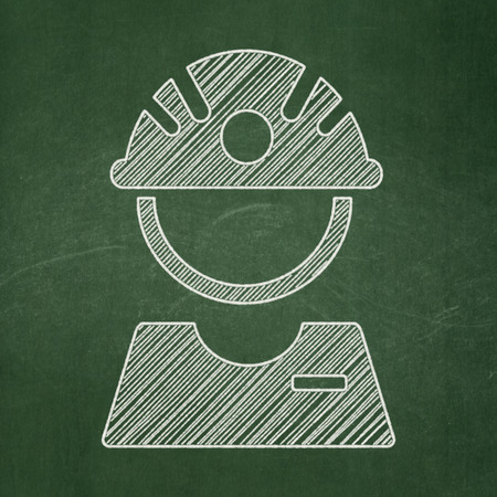 worker person: Manufacuring concept: Factory Worker icon on Green chalkboard background Stock Photo