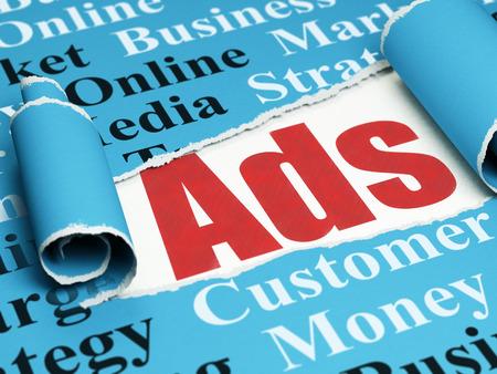 Concepto de marketing: anuncios de texto rojos debajo de la pieza rizado de papel rasgado azul con la nube de la etiqueta Foto de archivo