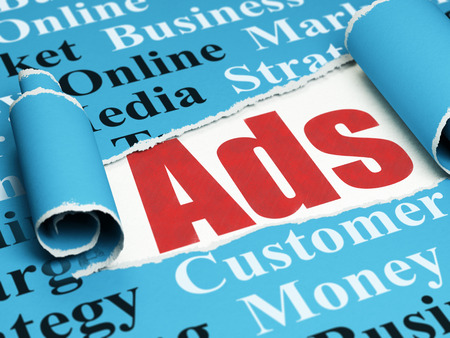 Marketing concept: red text Ads under the curled piece of Blue torn paper with  Tag Cloud Stock Photo