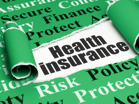 liability insurance: Insurance concept: black text Health Insurance under the curled piece of Green torn paper with  Tag Cloud
