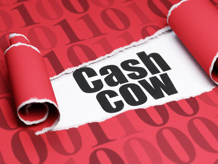 cash cow: Finance concept: black text Cash Cow under the curled piece of Red torn paper with  Binary Code