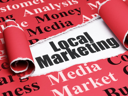 Marketing concept: black text Local Marketing under the curled piece of Red torn paper with  Tag Cloud Stock Photo