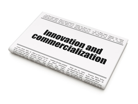 commercialization: Science concept: newspaper headline Innovation And Commercialization on White background, 3d render