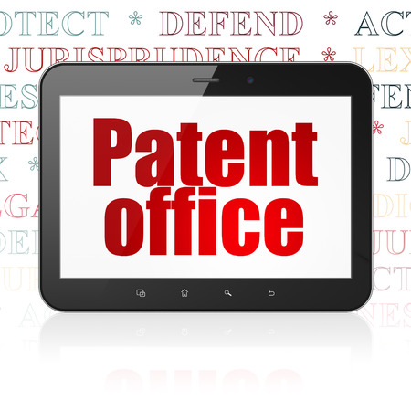 criminal act: Law concept: Tablet Computer with  red text Patent Office on display,  Tag Cloud background