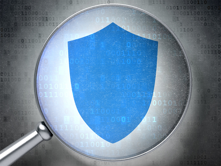 passkey: Protection concept: magnifying optical glass with Shield icon on digital background